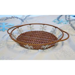 "9.5"" Snowflake Basket on Table"