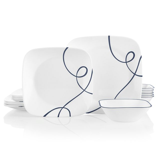 Lia Square 18-piece Dinnerware Set, Service for 6