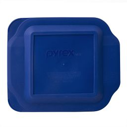 "Watercolor Collection 8"" Square Baking Dish, Blue Plastic Lid"