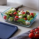 6-piece Glass Bakeware and Storage Container Set with Blue Lids