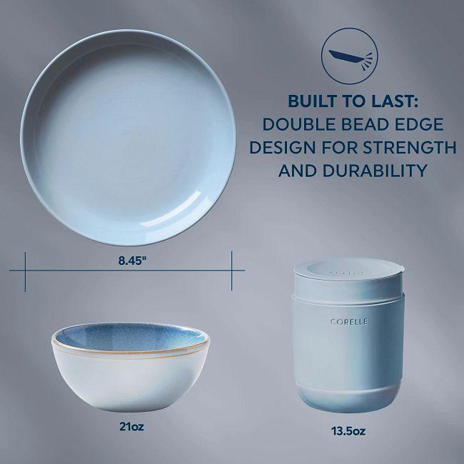 Stoneware 16-piece Dinnerware Set, Service for 4, Nordic Blue