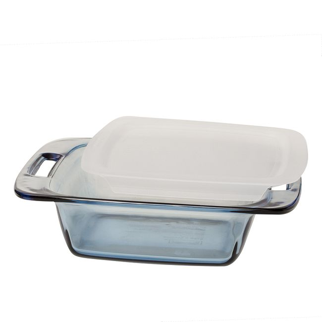"8"" Square Glass Baking Dish with White Lid"