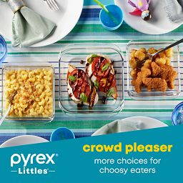 Littles 3-piece Bakeware Set with food inside in photo that says crowd pleaser more choices for choosy easters