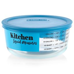 Liquid Measure 4-cup Food Storage Container with Teal Blue Lid