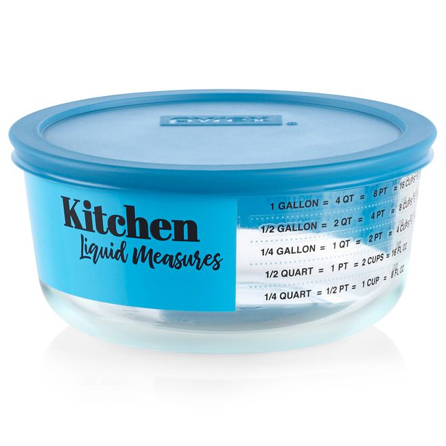 Liquid Measure 4-cup Food Storage Container with Blue Lid