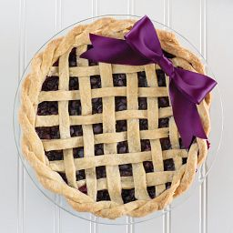 Easy Grab Glass Pie Plate with blueberry pie inside