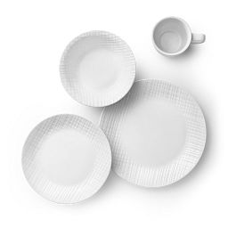 Linen Weave 16-piece Dinnerware Set, Service for 4 Top View