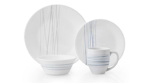 Silver Strands pattern featuring blue and silver line pattern on white Corelle plates, bowls and mugs