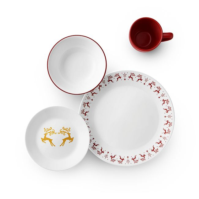 Dancer & Prancer 16-piece Dinnerware Set, Service for 4