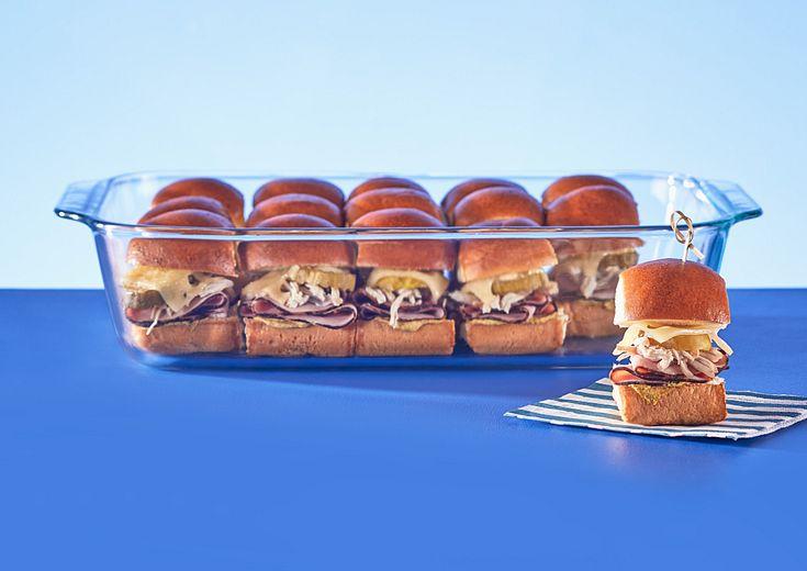 Cheeseburger sliders in Pyrex 9x13 Dish