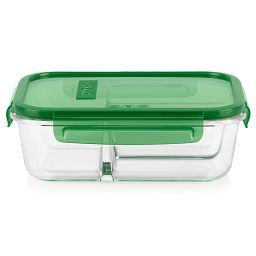 MealBox 5.9-cup Glass Food 3 Compartment Storage Container with green lid