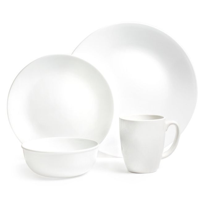"Winter Frost White 16-piece Dinnerware Set with 11"" Dinner Plates, Service for 4"