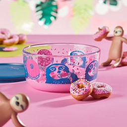 Sloth 4-cup Glass Food Storage Container with doughnuts