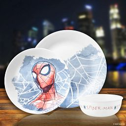 Marvel Spider-Man 3-piece Dinnerware Set with city lights shadowed in the background