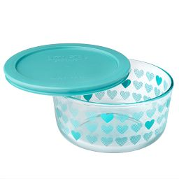 Simply Store® 4 Cup Turquoise Hearts Storage Dish w/ Lid