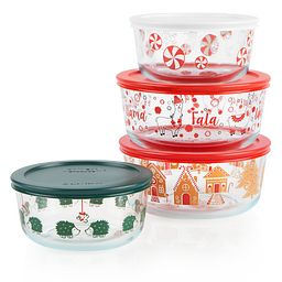 8-piece Hoiday Glass Food Storage Set