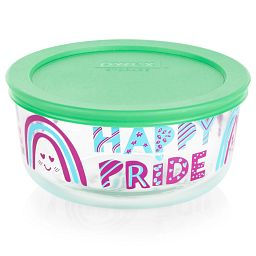 Happy Pride 4-cup Glass Food Storage with Green Lid
