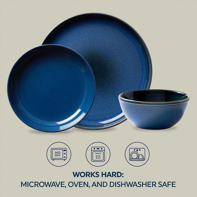 Stoneware 12-piece Dinnerware Set, Service for 4, Navy