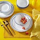 Classic Café Blue 18-piece Dinnerware Set, Service for 6