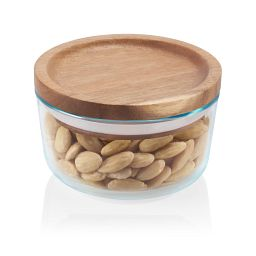 Glass Storage 2 Cup Round Dish with Wood Lid with food inside
