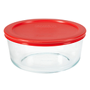 7-cup Glass Food Storage Container with Red Lid