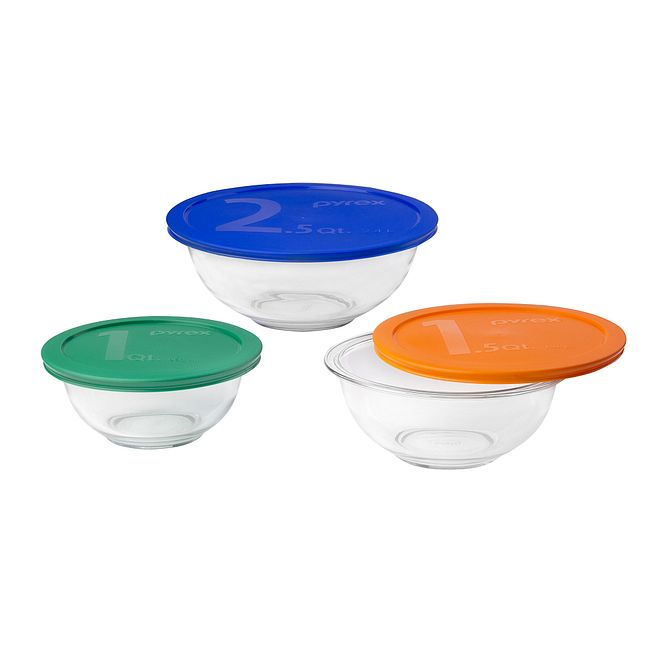 6 Piece Mixing Bowl Set With Assorted Lids Pyrex