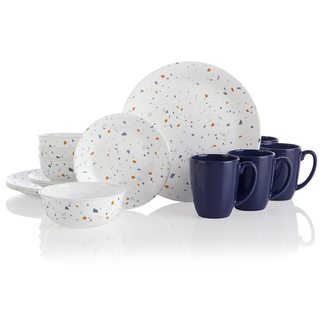 Terrazzo Azul 16-piece Dinnerware Set, Service for 4