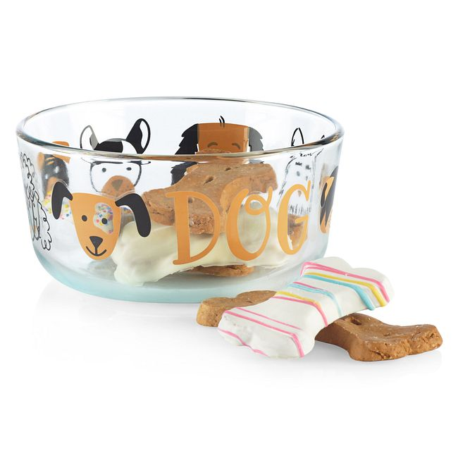 Furever Dog 4-cup Glass Food Storage Container with Black Lid