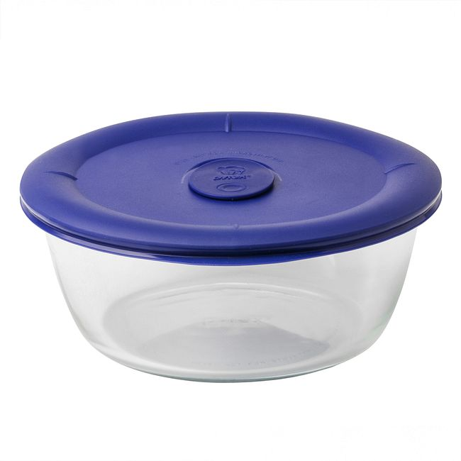 5-cup Glass Food Storage Container with Blue Lid