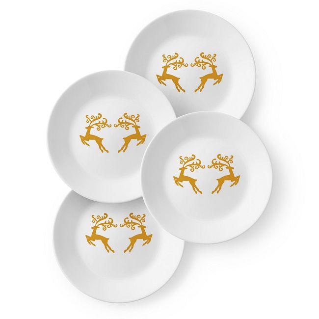 """Dancer & Prancer 6.75"""" Appetizer Plates, 4-pack"""