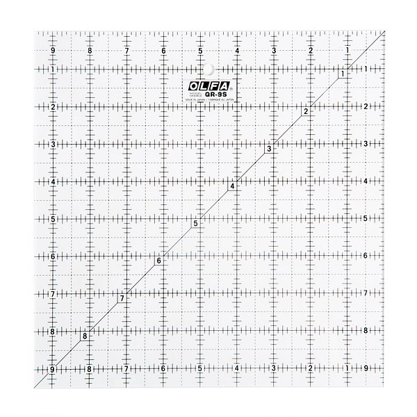 9-1/2″ Square Frosted Acrylic Ruler (QR-9S)
