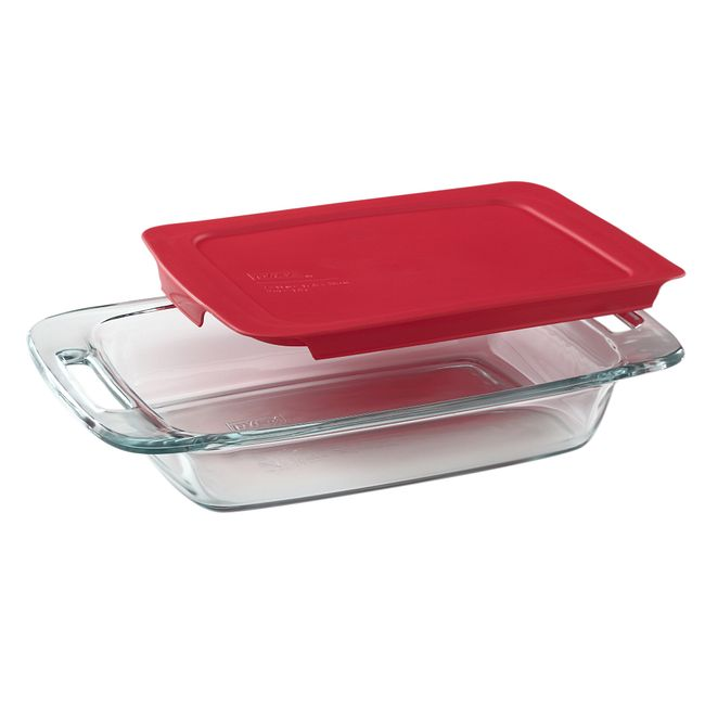 2-quart Glass Baking Dish with Red Lid