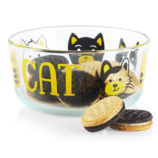 Furever Cat 4-cup Glass Food Storage Container with Black Lid