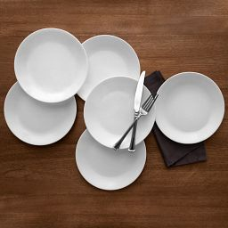 "Winter Frost White 10.25"" Dinnerplate, 6 pack, on the table"