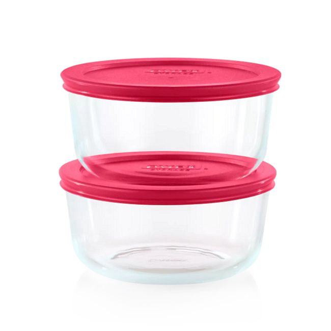 Sangria 4-cup Round Glass Storage Container Set, 2-pack