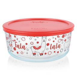 Llama 7-cup Glass Food Storage Container with Red Lid