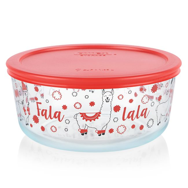 Falalala Llama 7-cup Glass Food Storage Container with Red Lid