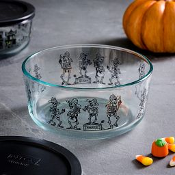Day of the Dead 7-cup Glass Food Storage Container with pumpkin and candy corn beside it