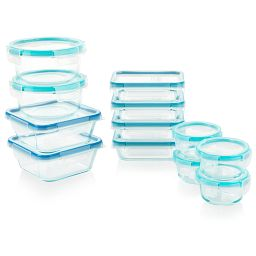 Total Solution Pyrex Glass Food Storage 24-pc Set (includes aqua & blue lids)