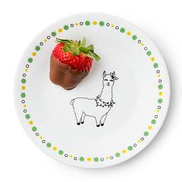 "Falalala Llama Olive 6.75"" Appetizer Plate with chocolate covered strawberry served on it"