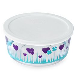 Pyrex 7 Cup Midnight Garden Storage Dish w/ Lid On