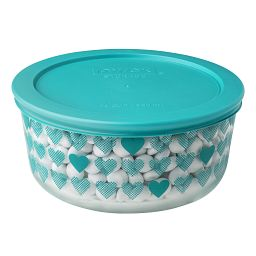 Simply Store 4 Cup Turquoise Hearts Storage Dish w/ Candies