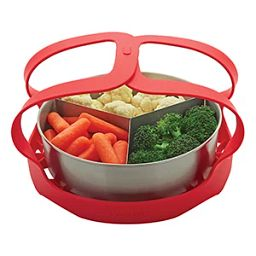 Instant Pot Lift Piece used to lift a pan of vegetables