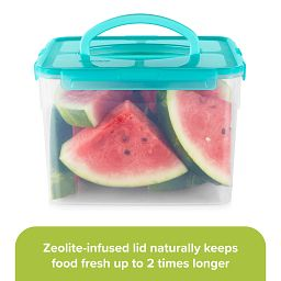 """Meal Prep 29-cup Storage Container with watermelon inside & text """"zeolite-infused lid naturally keeps food fresh"""