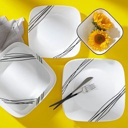 Simple Sketch 16-piece Square Dinnerware Set on the table