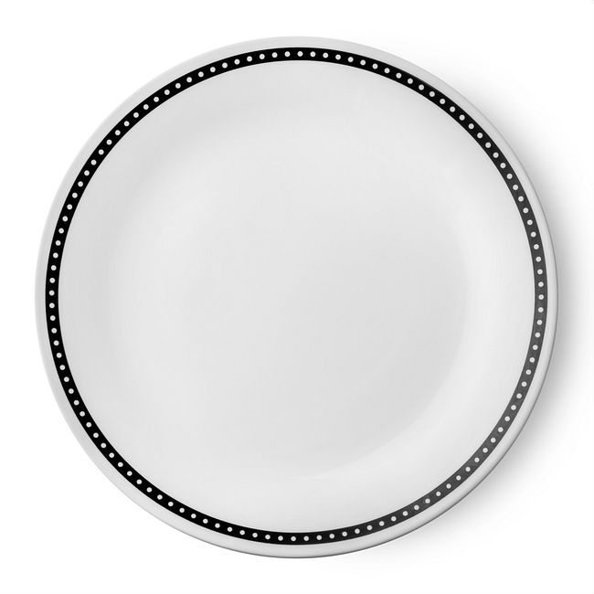 "Livingware Ribbon 10.25"" Plate, Black & White"