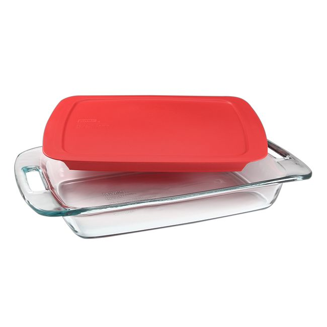 3-quart Glass Baking Dish with Red Lid