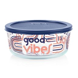 Good Vibes 7-cup Glass Food Storage Container with Blue Lid