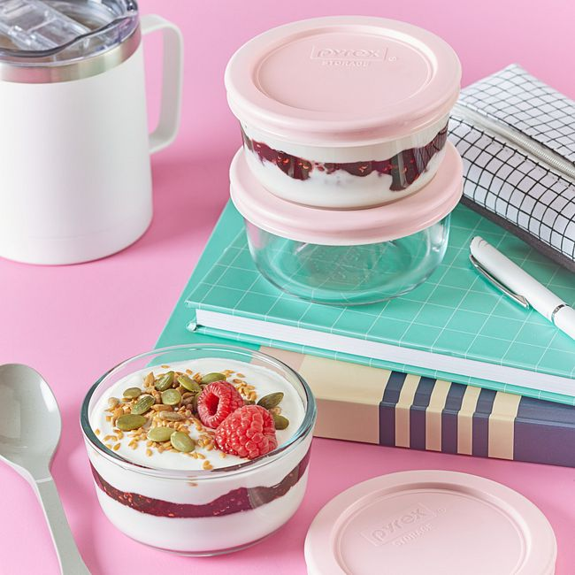 6-piece Glass Food Storage Container Set  with Pink Lids
