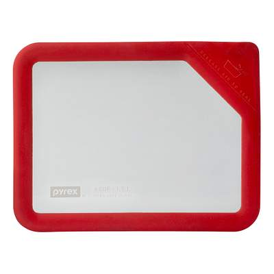 Pyrex Ultimate 6 Cup Rectangle Glass Storage Lid, Red